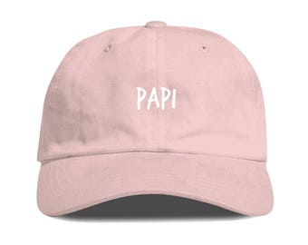 Light Pink PAPI Dad Hat Low Profile Unstructured Baseball Cap Embroidered Dad Hats Baseball Hat Champagne Papi Strapback