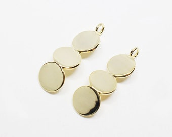 P0548/Anti-Tarnished Gold Plating Over Brass/Zigzag Circles Pendant/7.5x23.5mm/2pcs