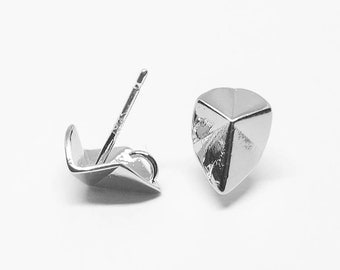 E0120/Anti-Tarnished Rhodium Plating Over Brass+Sterling Silver Post/Origami Drop Stud Earrings/7x9mm/2pcs
