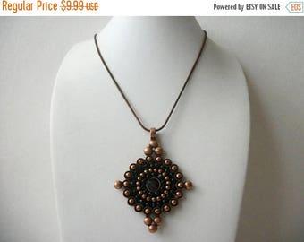 ON SALE Vintage Copper Tone Black Glass Stones Pendant Ne4cklace 40217