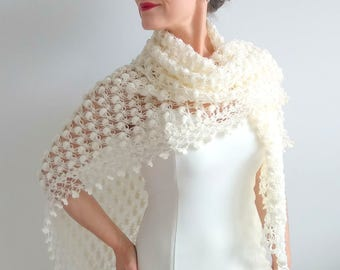 Crochet shawl, bridal wrap, ivory shawl, cream cover up, wedding shawl, crochet wrap, gift for her, lace shawl, fast shipping, READY TO SHİP