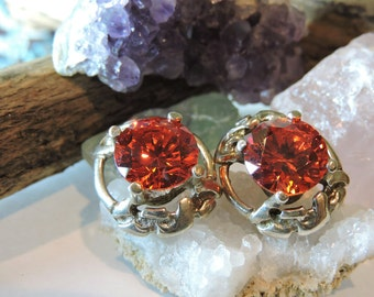 Sterling Silver Earrings Bright Orange Stones,Vintage Earrings Pierced