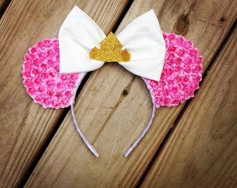 Make It Pink Floral Sleeping Beauty Aurora Minnie Ears