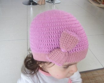 Baby crochet hat, baby girl hat, girls hat, crochet hat, cotton pink hat, 1st anniversary gift, girl hat gift, knitted hat, hat with lace