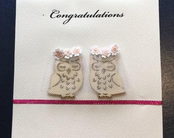 Two Owl Brides (Congratulations; Lesbian / Gay Wedding / Engagement)