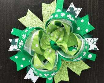 Saint Patrick's day hair bow-large OTT Saint Patrick hair bow-over the top green saint patrick's day hair clip- large saint patrick bow
