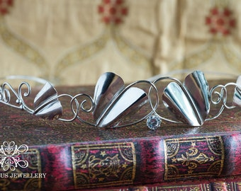 Elven Circlet, Medieval Circlet, Heart Leaf Circlet, Lord of the Rings Circlet, Sterling Silver and CZ Circlet, Wedding Circlet, CZ Circlet