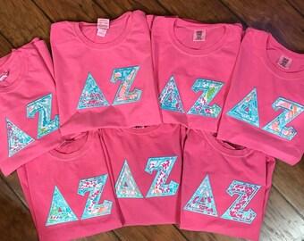 Delta zeta comfort colors with Lily Pulitzer fabric