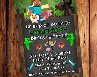 Pixel Party Birthday Invitation, Mine Party 5x7 (Digital File), Party Invites, Boy or Girl