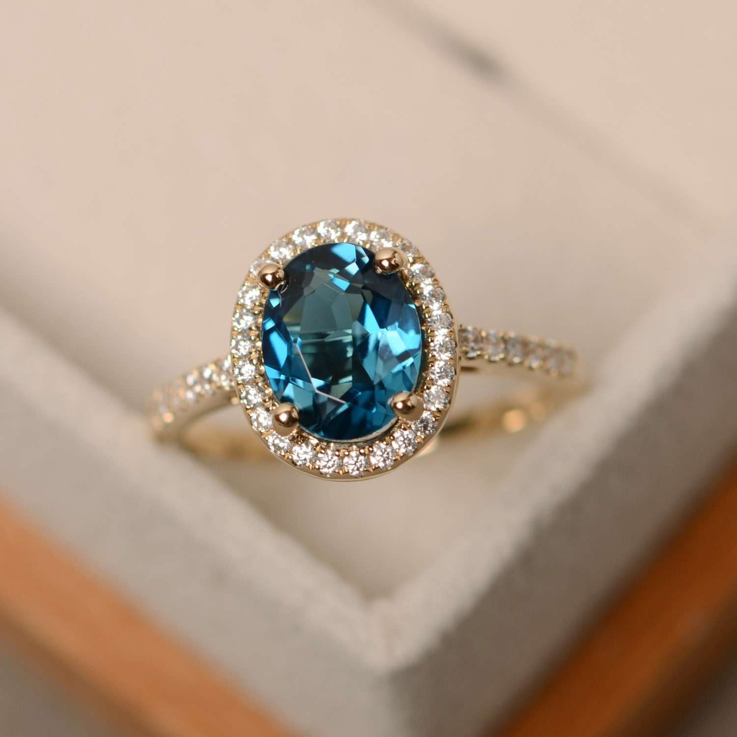 London blue topaz ring yellow gold ring halo engagement
