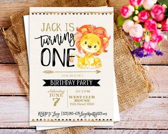 lion Birthday Invitation, Baby Lion Birthday party invite, jungle birthday invitation party invites printable, lion first Birthday Invite