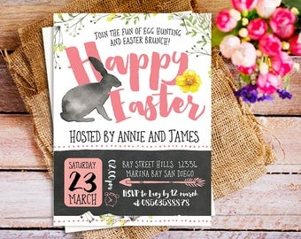 Easter Brunch and Egg Hunt Invitation, printable Easter egg hunt celebration, bunny easter party invitation, spring happy easter invitation