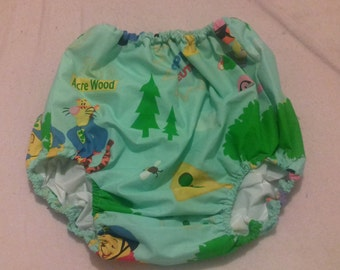 Adult Baby mint cotton Winny Pooh design forward facing legs waterproof  pants/nappy covers