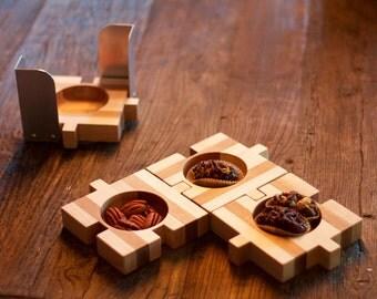 Puzzle de tapas et support en aluminium