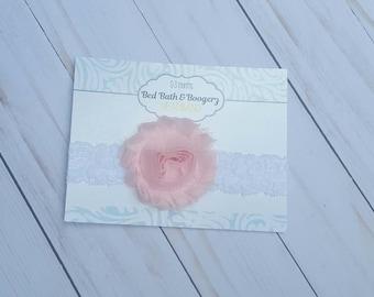 Light Pink Baby Heabdand- Lace Headband, Newborn Headband, Infant Headband, Baby Hair Accessories, Baby Girl Headband, Spring Headband, Baby