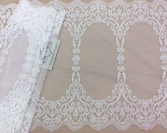 Offwhite lace trimming, Chantilly Lace trim, Bridal lace trimming, Soft lace, French Lace, Wedding Lace, Lingerie Lace, by the yard MB00139
