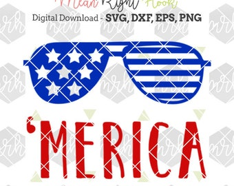 Merica svg, 4th of July svg, patriotic svg, summer SVG design INSTANT DOWNLOAD vector files for cutting machines - svg, png, dxf, eps