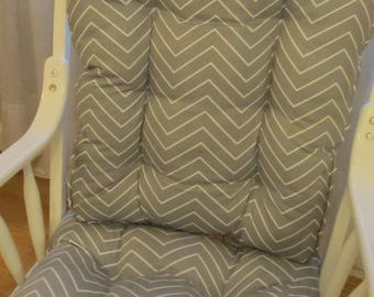 SHIP FREE Glider or Rocking Chair Cushions Set in Grey and White Twill  Chevron  DutailierNursery rocking chair cushion   Etsy. Rocking Chair Cushion Sets For Nursery. Home Design Ideas