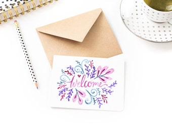 Welcome - Blank house warming card - Watercolour Illustration  Hand Lettering