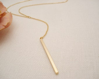 Gold Thin Vertical bar necklace...Simple delicate, long layered drop, sorority, best friend gift, wedding, bridesmaid gift