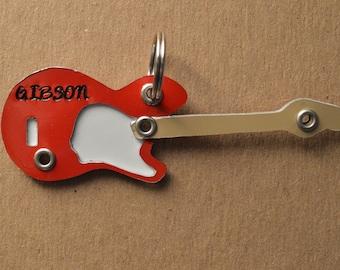 Guitar Pet Tag Dog ID Metal Gibson Fender Rock Roll Music