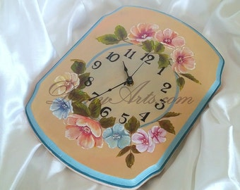 "Floral Wall Clock ""Springtime"" - Decorative Painting"