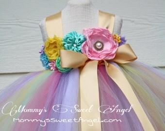 Rainbow tutu dress. Pageant tutu dress. Pastel rainbow tutu