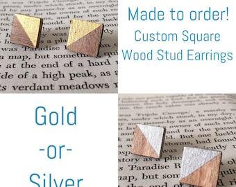 Stud Earrings / Wood Studs / Wood Earrings / Minimalist Jewelry / Custom Earrings / Geometric Earrings / Nature Lover Gift / Gold Earrings