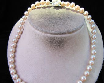 Vintage Fancy Clasped Off White Faux Pearl Necklace