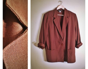 80s Sag Harbor lightweight brown blazer