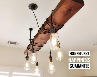 Industrial lighting wood chandelier organic finish⋆Edison chandelier⋆rustic chandelier ⋆industrial light⋆industrial lighting⋆beam chandelier