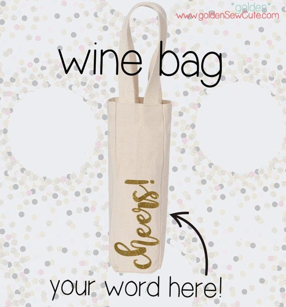 CYBER MONDAY SALE!  Heat Transfer Name or Word Canvas Wine Gift Bag, Glitter, Custom, Personalized, Initial
