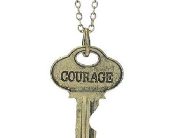 Vintage key pendant necklace - courage 22 inches long