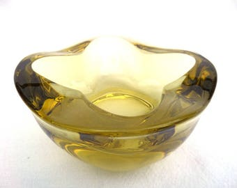 Rudolf Jurnikl Retro Glass Ashtray 1145, Citrine Glass Bowl, Heavy Mid Century Glass Circa 1960, Wavy Square Shape, Immaculate