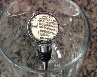 Vintage Dictionary Page Wine Bottle Stopper - WINE