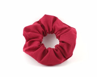 Scrunchie - vintage style - solid red 100 % cotton