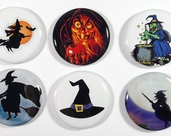 "Set of 6 Witch Inspired 1.25"" Pinback Buttons or Magnets Witches Hat Broom Cauldron Halloween"