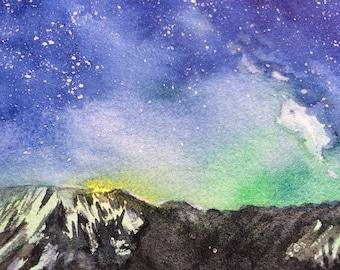 Mountain art original watercolor , Universe,  Watercolor landscape, Night sky art , Starry night, Nebula painting,Space art,natural decor