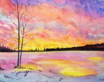 Sunset Original watercolor painting , landscape ,snow,  trees , stones , lake , purple , sky , clouds, forest, home decor, wall decor