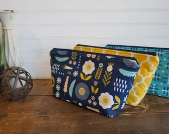 Zipper Bag Set of 3 with Gusset - Bridesmaid Gift Pack, Friend Gift Set, Soroity Gift Set, Make Up Bag Gift Set, Navy, Teal, Mustard Yellow
