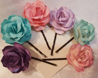 Paper Rose Hair Flowers Pink Aqua Purple Bobby Pins Bobbie Pins