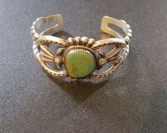 Navajo Martha Cayatineto Cast Sterling Silver Genuine Turquoise Bracelet