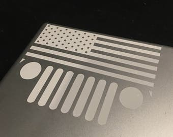 Jeep Decal - Jeep American Decal - Jeep Sticker - Jeep Flag Sticker - Yeti Decal - Jeep Car Decal - Vinyl Decal - Jeep Decals
