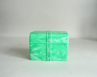 Art Deco 1940s Jadite Green Marbleized Plastic File Box