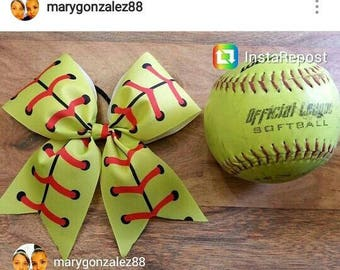 Softball bow made with 3 inch wide ribbon and ponytail holder