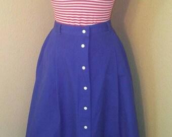 Royal Blue 80s Koret Skirt with White Snaps