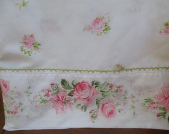 White Shabby Chic Flat Sheet with Pink Flowers, Vintage Bedding