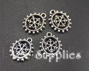20pcs Antique Silver Metal Snowflake Charms Pendant A1960