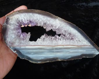 Agate And Amethyst Slice From Uruguay 20 CM