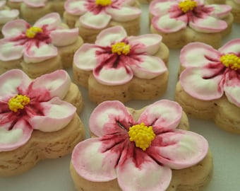 Mini Apple Blossom Cookies - Two Dozen Decorated Mother's Day / Shower / Michigan State Flower Cookies